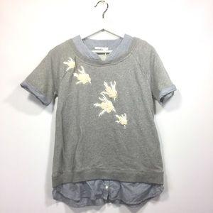 Anthropologie Floreat Small Shirt Gray Birds